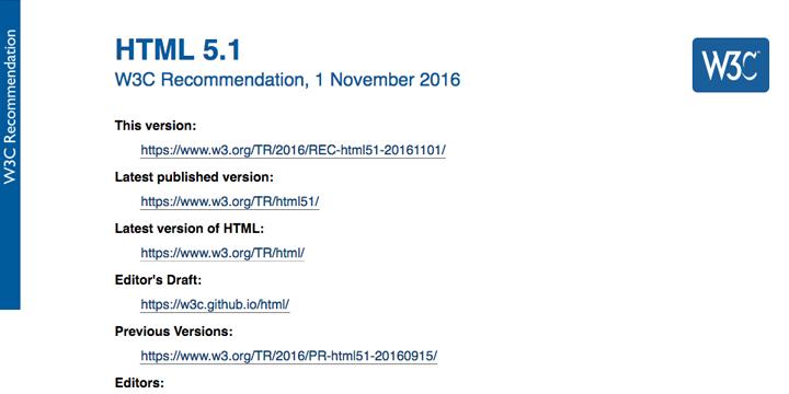 HTML5.1、いよいよW3C勧告として公開