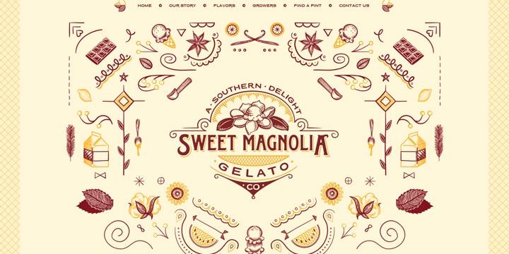 イラストとアニメーションが素敵なRWDサイト「Sweet Magnolia Gelato Co.」